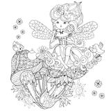 Vector cute fairy girl in flowers doodle. Vector cute fairy girl in flowers on mushrooms.Vector line illustration.Sketch for postcard or print or coloring adult Stock Photo