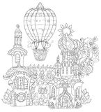 Vector cute fairy tale town doodle Stock Image