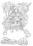 Vector cute fairy tale town doodle Stock Photos