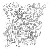 Vector cute fairy tale town doodle Royalty Free Stock Images