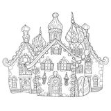 Vector cute fairy tale town doodle Royalty Free Stock Image