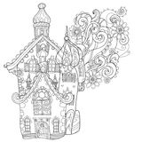 Vector cute fairy tale town doodle Royalty Free Stock Photo