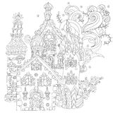 Vector cute fairy tale town doodle Stock Photo