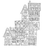 Vector cute fairy tale town doodle Stock Photography