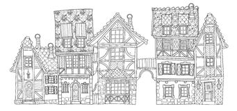 Vector cute fairy tale town doodle Royalty Free Stock Photography