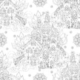 Vector cute fairy tale town doodle Royalty Free Stock Photos