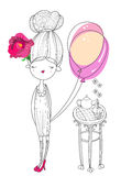 Vector cute fashion girl  with air balloon Royalty Free Stock Photography