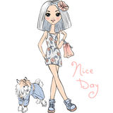Vector cute fashion girl with dog Royalty Free Stock Image