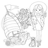 Vector cute fashion girl with dog. Royalty Free Stock Photo