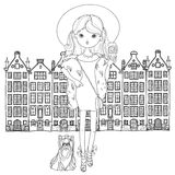 Vector cute fashion girl with dog. Stock Photography