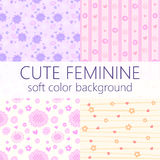 Vector cute feminine pattern background with beautiful soft color Stock Images