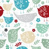 Vector cute floral seamless background with bird Stock Images