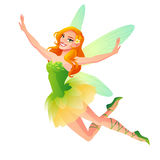 Vector cute flying floral fairy with wings in green dress. Royalty Free Stock Photo
