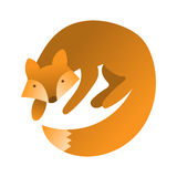 Vector cute fox. Hand draw cute character for children`s illustration. Fox cartoon mascot. Stock Image