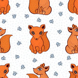 Vector cute fox pattern. Seamless cartoon background. Sitting foxes Royalty Free Stock Images
