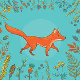 Vector cute fox surrounded by flowers Royalty Free Stock Image