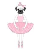Vector cute french bulldog in dress like ballerina. Hand drawn a Stock Photography