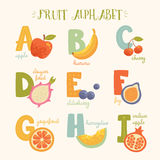Vector cute fruit alphabet for kids  Stock Photos