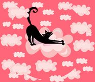 Vector cute, funny, cartoon illustration, print with black cat in the pink clouds. Vector cute, funny, cartoon illustration, print with black cat in the clouds vector illustration