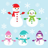 Vector cute and funny snowmen. Set of vector cute snowmen and snowflakes Stock Photos