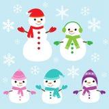 Vector cute and funny snowmen Stock Photos