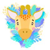 Vector cute giraffe face in the jungle. For print on a T-shirt, a picture in the nursery. royalty free illustration