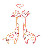 Vector  cute giraffes in love. Royalty Free Stock Image
