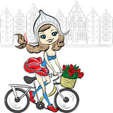 Vector cute girl on the bike in Amsterdam Stock Photos