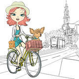 Vector cute girl with dog on the bike in Amsterdam royalty free illustration