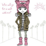 Vector cute girl  in funny hat with a muzzle cat Royalty Free Stock Images
