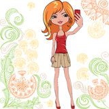 Vector cute girl makes selfie Royalty Free Stock Photo
