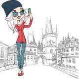 Vector cute girl makes selfie in Prague Royalty Free Stock Images