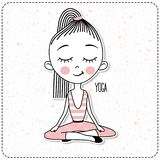 Vector cute Girl Practicing Yoga. royalty free illustration