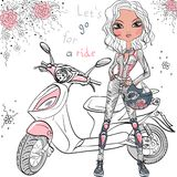 Vector cute girl with scooter. Cute beautiful fashionable hipster girl with scooter stock illustration
