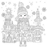 Vector cute girl in winter hat with christmas gift Stock Image