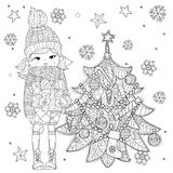 Vector cute girl in winter hat with christmas gift Stock Photo