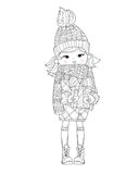 Vector cute girl in winter hat with christmas gift Stock Photos