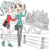 Vector cute girls make selfie in Amsterdam Royalty Free Stock Images