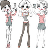 Vector cute girls make selfie Royalty Free Stock Images