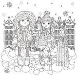 Vector cute girls in winter hat. In old town with sledge and bird.Vector line illustration.Sketch for postcard or print or coloring adult book.Boho zentangle Stock Image