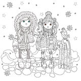Vector cute girls in winter hat. With sledge and bird.Vector line illustration.Sketch for postcard or print or coloring adult book.Boho zentangle style Royalty Free Stock Photos