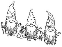 Free Vector  Cute Gnomes Cartoons, Black  Silhouette. Royalty Free Stock Images - 164226219