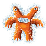 Vector cute Halloween character ogre, fictitious crazy creature. Cool illustration of freak orange monster Stock Photos