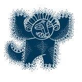Vector cute Halloween character ogre, fictitious creature. Cool. Illustration of freak blue monster vector illustration