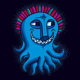 Vector cute Halloween character ogre, fictitious smiling funny. Creature. Cool illustration of freak blue monster vector illustration