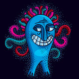 Vector cute Halloween character ogre, fictitious smiling happy c. Reature. Cool illustration of freak blue monster vector illustration