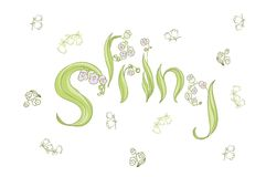 Vector. Cute hand drawing and lettering spring Stock Images