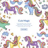 Vector cute hand drawn magic unicorns and stars background stock illustration