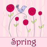 Cute spring bird illustration Royalty Free Stock Images