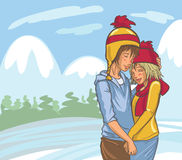 Vector Cute Hand Drawn Winter Couple vector illustration